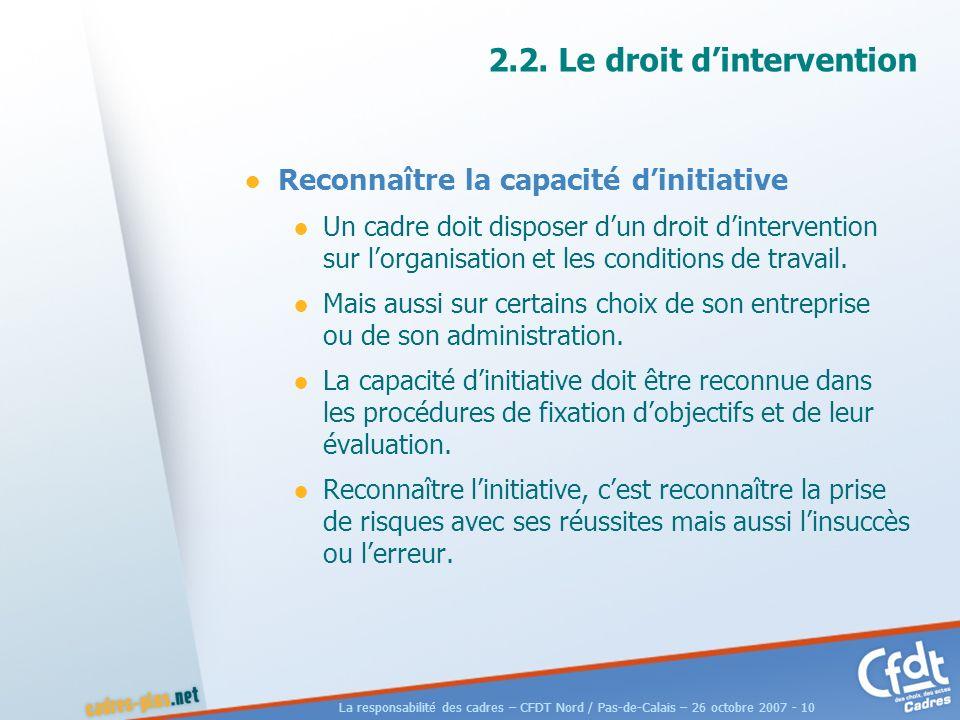 La responsabilité des cadres – CFDT Nord / Pas-de-Calais – 26 octobre 2007 - 10 2.2.