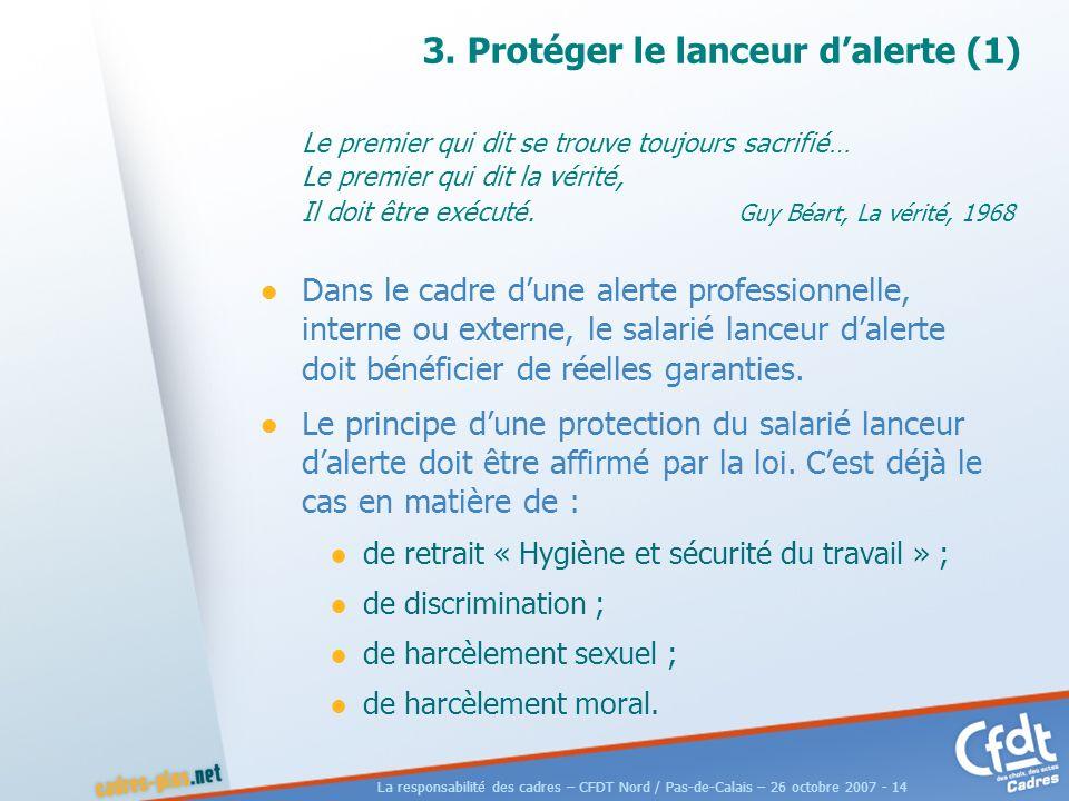 La responsabilité des cadres – CFDT Nord / Pas-de-Calais – 26 octobre 2007 - 14 3.