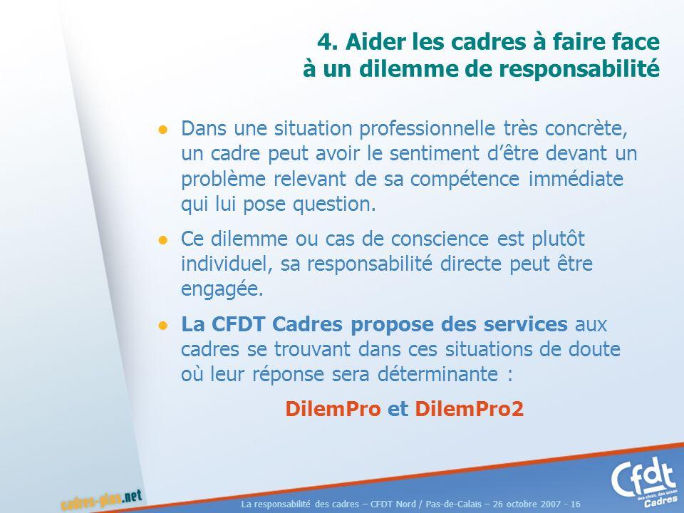 La responsabilité des cadres – CFDT Nord / Pas-de-Calais – 26 octobre 2007 - 16 4.