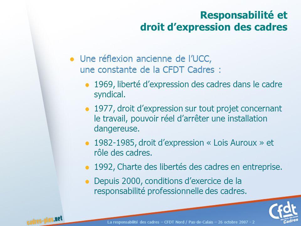 La responsabilité des cadres – CFDT Nord / Pas-de-Calais – 26 octobre 2007 - 2 Responsabilité et droit dexpression des cadres Une réflexion ancienne de lUCC, une constante de la CFDT Cadres : 1969, liberté dexpression des cadres dans le cadre syndical.