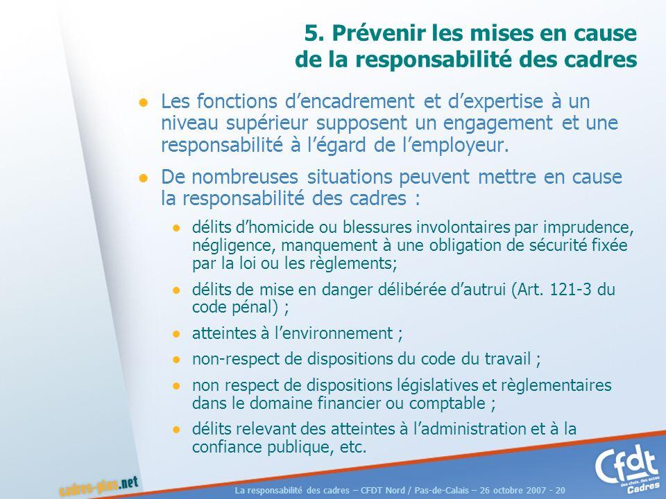La responsabilité des cadres – CFDT Nord / Pas-de-Calais – 26 octobre 2007 - 20 5.
