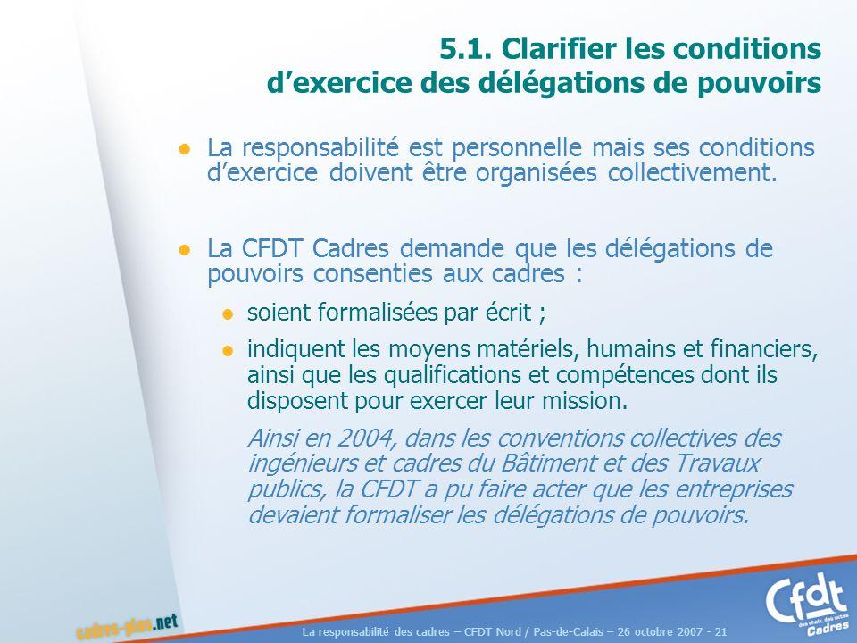 La responsabilité des cadres – CFDT Nord / Pas-de-Calais – 26 octobre 2007 - 21 5.1.