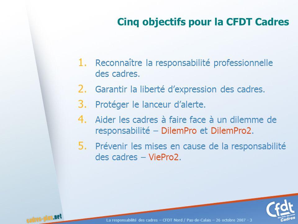 La responsabilité des cadres – CFDT Nord / Pas-de-Calais – 26 octobre 2007 - 3 Cinq objectifs pour la CFDT Cadres 1.
