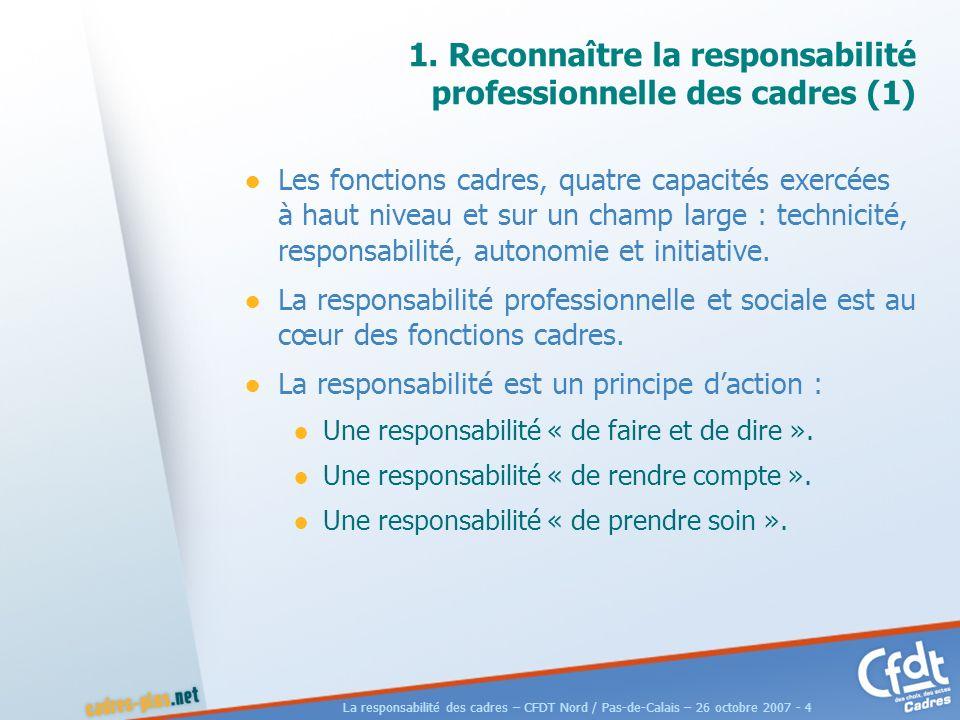 La responsabilité des cadres – CFDT Nord / Pas-de-Calais – 26 octobre 2007 - 25 Pour faire connaître nos analyses, propositions et services La responsabilité des cadres Une plaquette diffusée à 100 000 exemplaires.