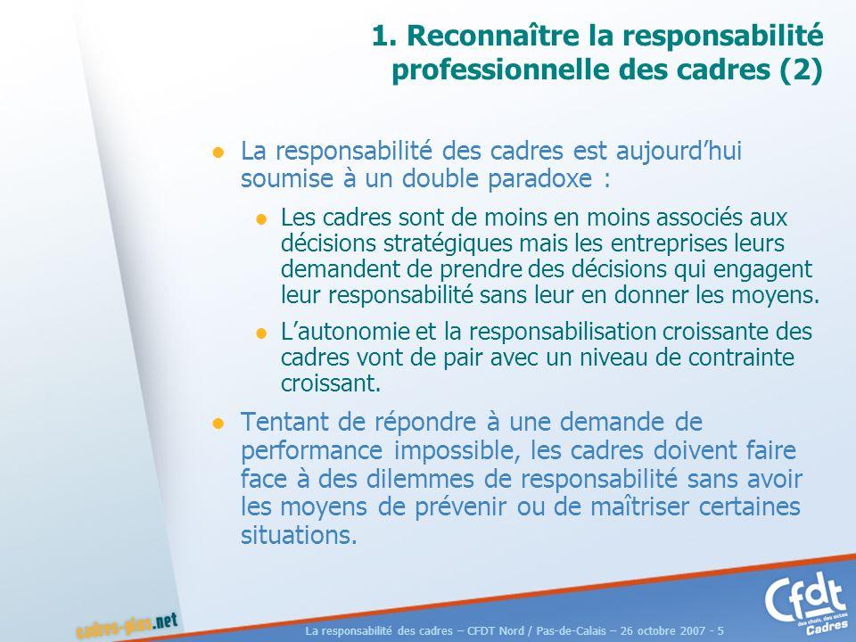 La responsabilité des cadres – CFDT Nord / Pas-de-Calais – 26 octobre 2007 - 6 1.