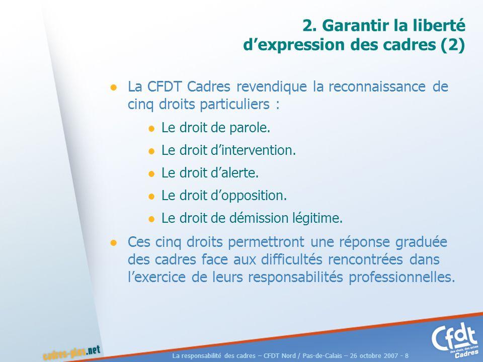La responsabilité des cadres – CFDT Nord / Pas-de-Calais – 26 octobre 2007 - 19 DilemPro et DilemPro2 DilemPro est consultable et téléchargeable sur le site de la CFDT Cadres.