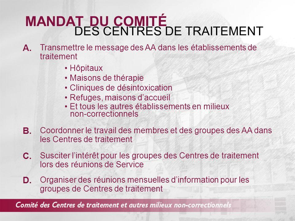 MANDAT DU COMITÉ DES CENTRES DE TRAITEMENT Transmettre le message des AA dans les établissements de traitement Hôpitaux C.
