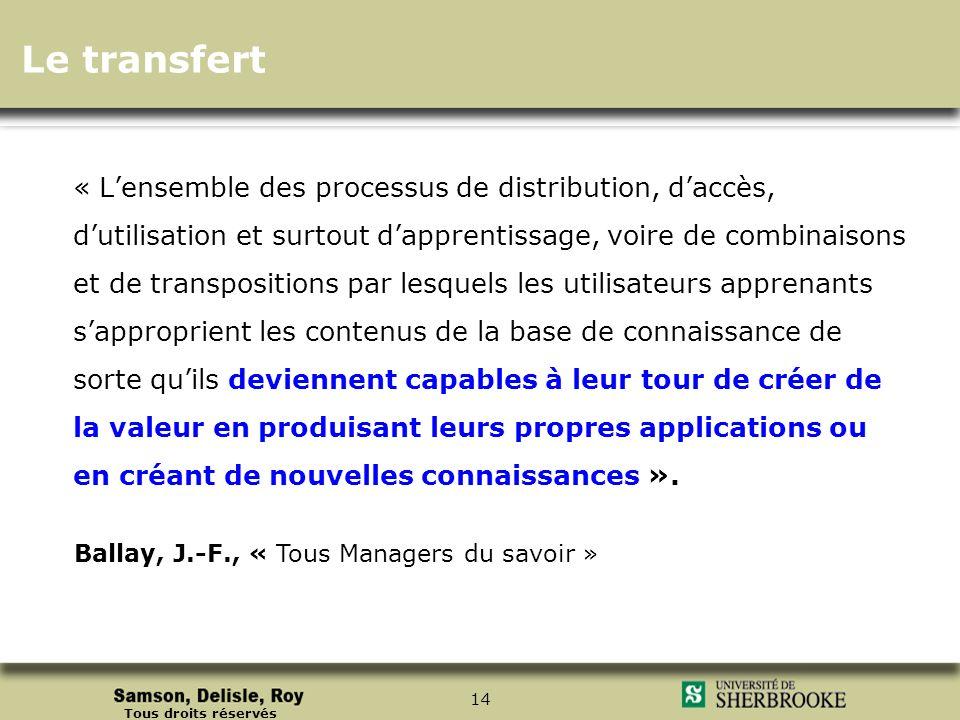 Tous droits réservés 14 « Lensemble des processus de distribution, daccès, dutilisation et surtout dapprentissage, voire de combinaisons et de transpo
