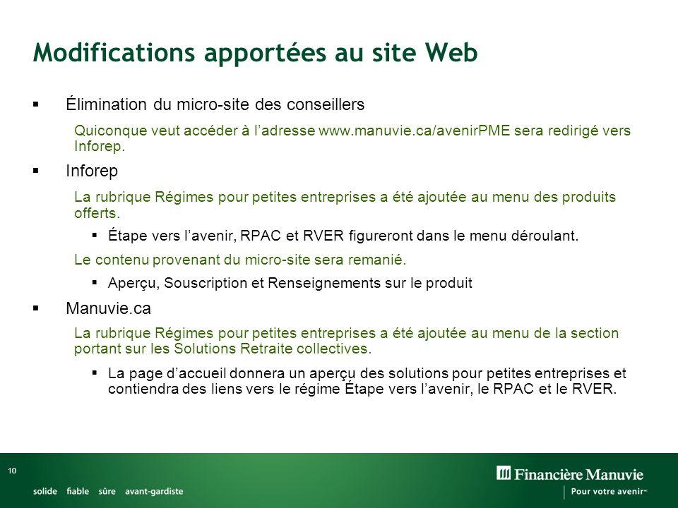10 Modifications apportées au site Web Élimination du micro-site des conseillers Quiconque veut accéder à ladresse www.manuvie.ca/avenirPME sera redirigé vers Inforep.