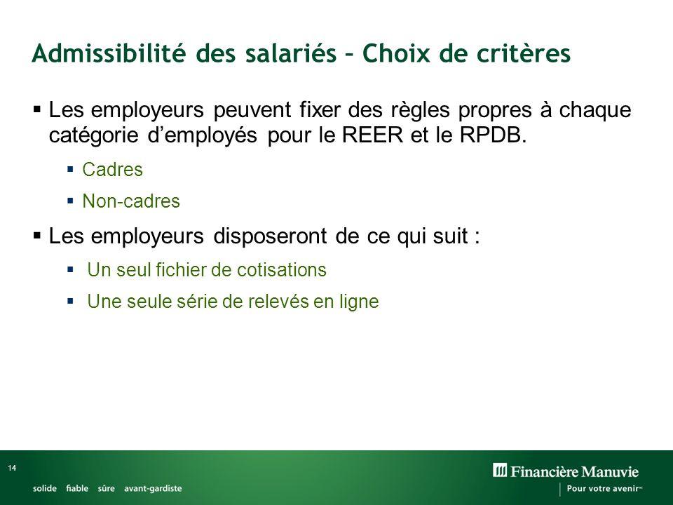 14 Les employeurs peuvent fixer des règles propres à chaque catégorie demployés pour le REER et le RPDB.