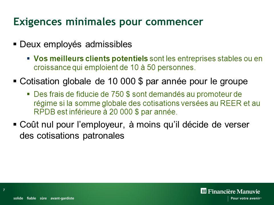 7 Exigences minimales pour commencer Deux employés admissibles Vos meilleurs clients potentiels sont les entreprises stables ou en croissance qui emploient de 10 à 50 personnes.