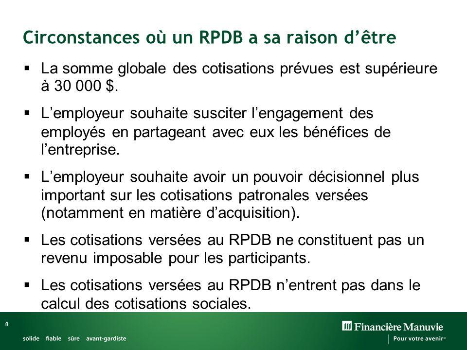8 Circonstances où un RPDB a sa raison dêtre La somme globale des cotisations prévues est supérieure à 30 000 $.