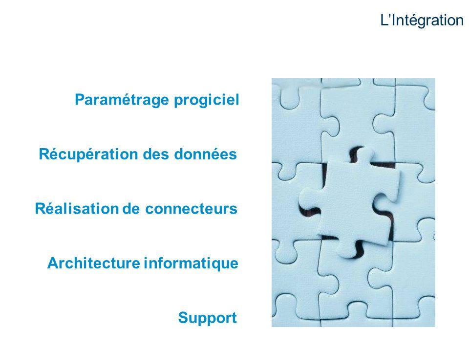 Paramétrage progiciel Récupération des données Réalisation de connecteurs Architecture informatique Support LIntégration