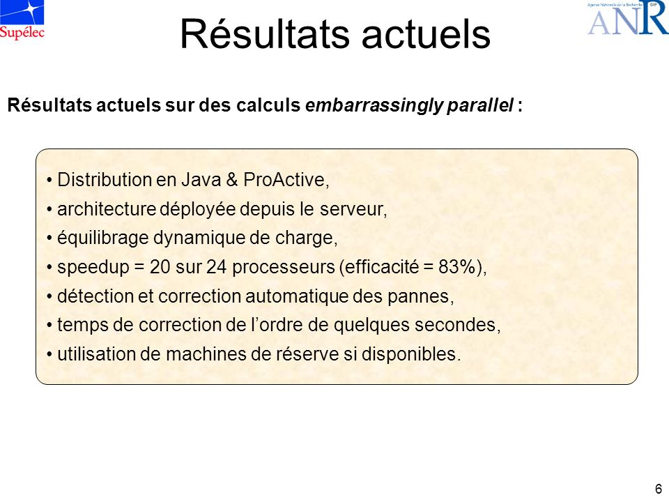 6 Résultats actuels Distribution en Java & ProActive, architecture déployée depuis le serveur, équilibrage dynamique de charge, speedup = 20 sur 24 pr