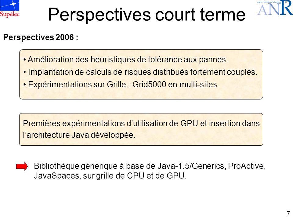 7 Perspectives court terme Amélioration des heuristiques de tolérance aux pannes. Implantation de calculs de risques distribués fortement couplés. Exp