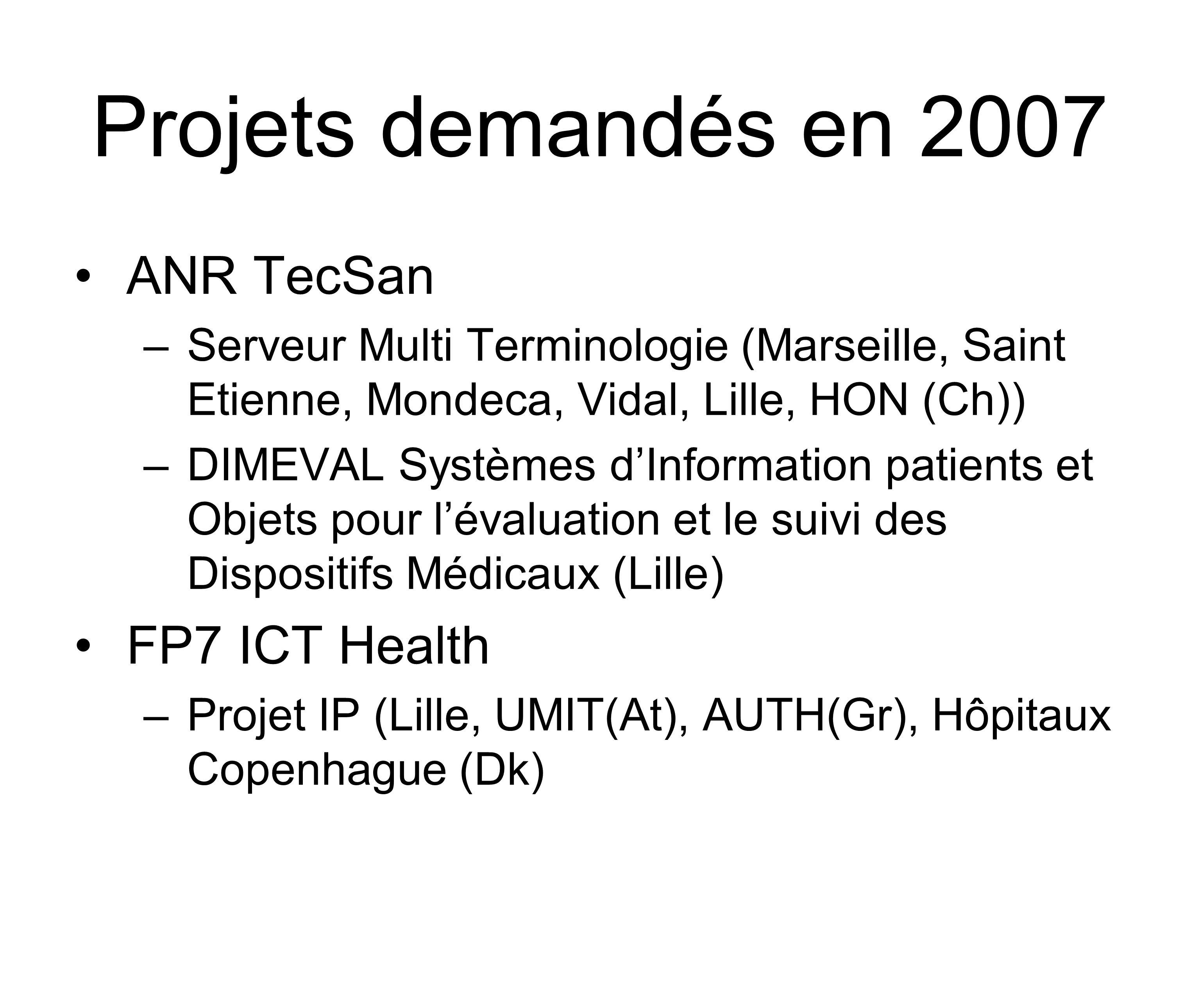 Projets demandés en 2007 ANR TecSan –Serveur Multi Terminologie (Marseille, Saint Etienne, Mondeca, Vidal, Lille, HON (Ch)) –DIMEVAL Systèmes dInformation patients et Objets pour lévaluation et le suivi des Dispositifs Médicaux (Lille) FP7 ICT Health –Projet IP (Lille, UMIT(At), AUTH(Gr), Hôpitaux Copenhague (Dk)