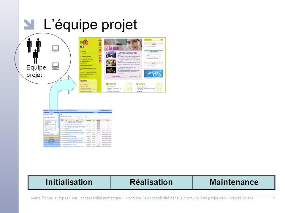 4ème Forum européen sur l'accessibilité numérique - Introduire l'e-accessibilité dans la conduite d'un projet web - Magali Oualid 5 Léquipe projet Equ