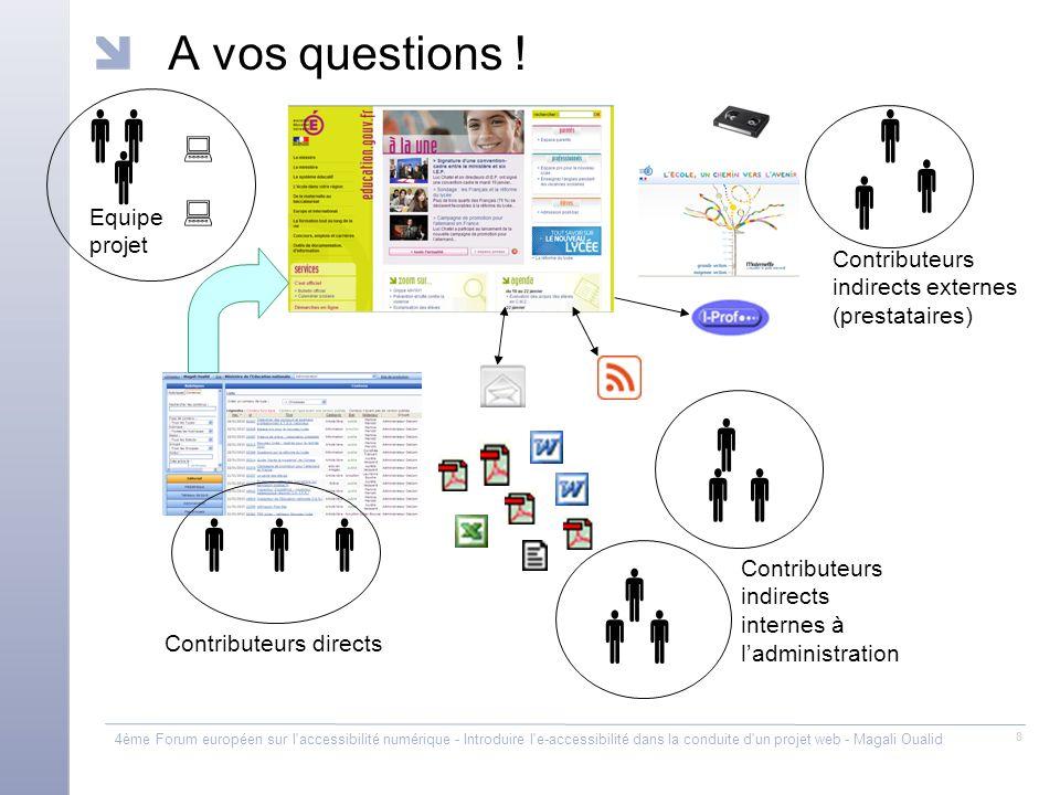 4ème Forum européen sur l'accessibilité numérique - Introduire l'e-accessibilité dans la conduite d'un projet web - Magali Oualid 8 A vos questions !