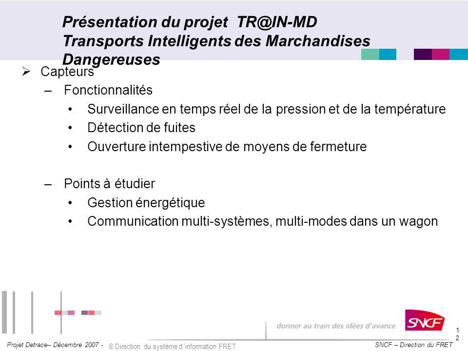 SNCF – Direction du FRET Projet Detrace– Décembre 2007 - © Direction du système d information FRET 12 Présentation du projet TR@IN-MD Transports Intel