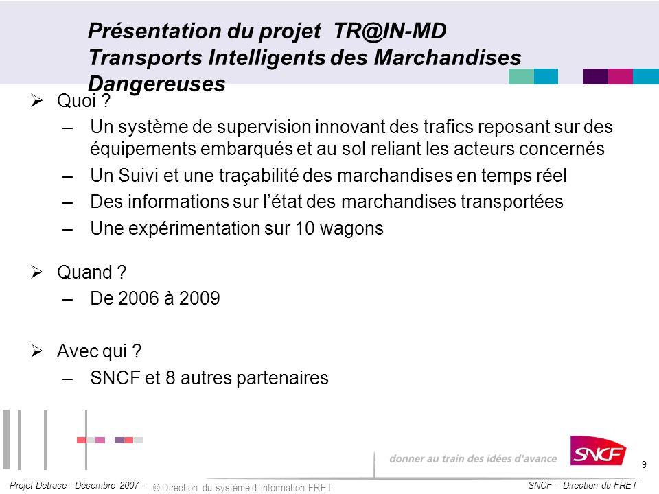SNCF – Direction du FRET Projet Detrace– Décembre 2007 - © Direction du système d information FRET 9 Présentation du projet TR@IN-MD Transports Intell