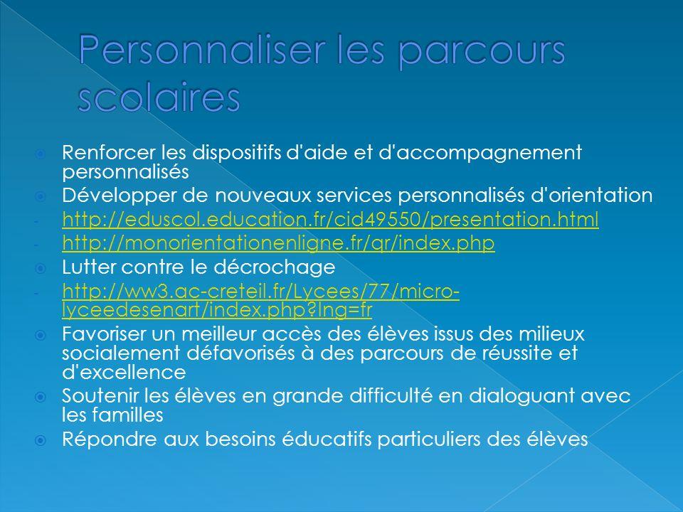 Renforcer les dispositifs d aide et d accompagnement personnalisés Développer de nouveaux services personnalisés d orientation - http://eduscol.education.fr/cid49550/presentation.html http://eduscol.education.fr/cid49550/presentation.html - http://monorientationenligne.fr/qr/index.php http://monorientationenligne.fr/qr/index.php Lutter contre le décrochage - http://ww3.ac-creteil.fr/Lycees/77/micro- lyceedesenart/index.php lng=fr http://ww3.ac-creteil.fr/Lycees/77/micro- lyceedesenart/index.php lng=fr Favoriser un meilleur accès des élèves issus des milieux socialement défavorisés à des parcours de réussite et d excellence Soutenir les élèves en grande difficulté en dialoguant avec les familles Répondre aux besoins éducatifs particuliers des élèves