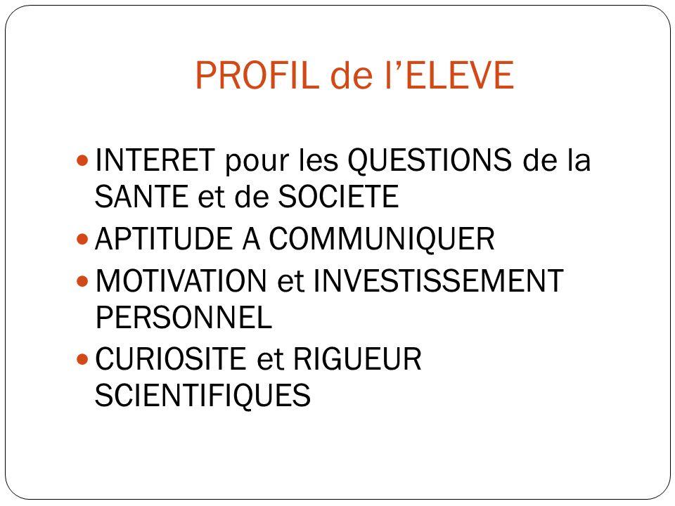 PROFIL de lELEVE INTERET pour les QUESTIONS de la SANTE et de SOCIETE APTITUDE A COMMUNIQUER MOTIVATION et INVESTISSEMENT PERSONNEL CURIOSITE et RIGUE