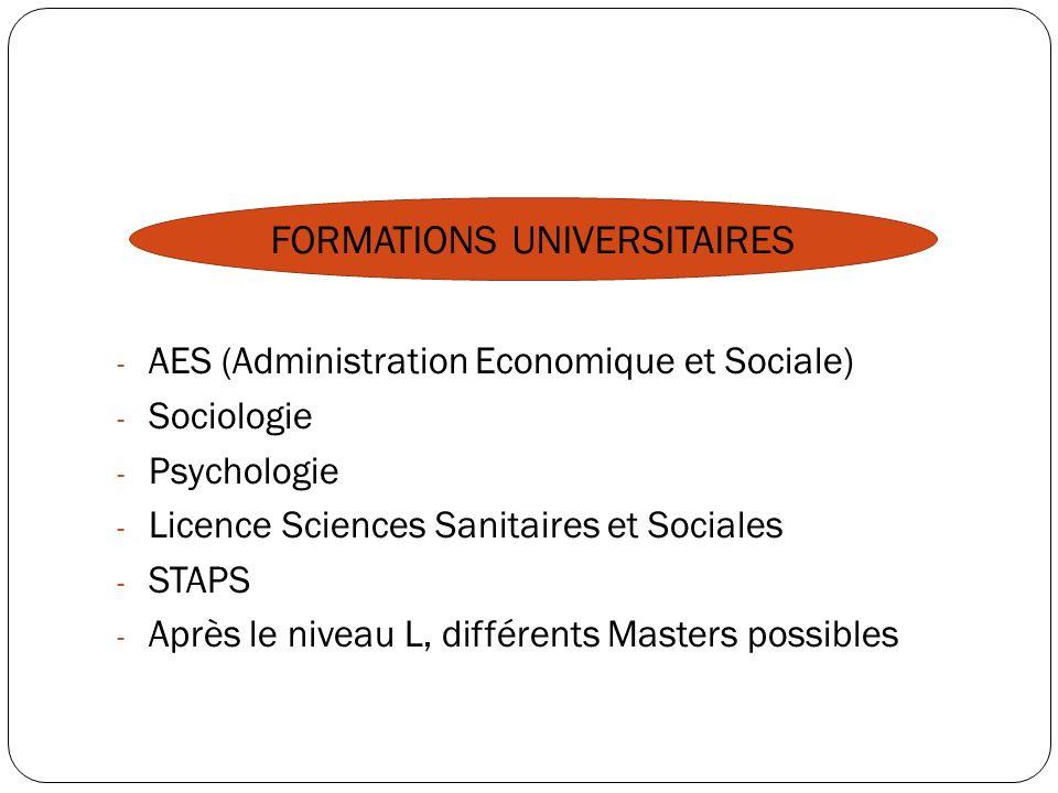 - AES (Administration Economique et Sociale) - Sociologie - Psychologie - Licence Sciences Sanitaires et Sociales - STAPS - Après le niveau L, différe