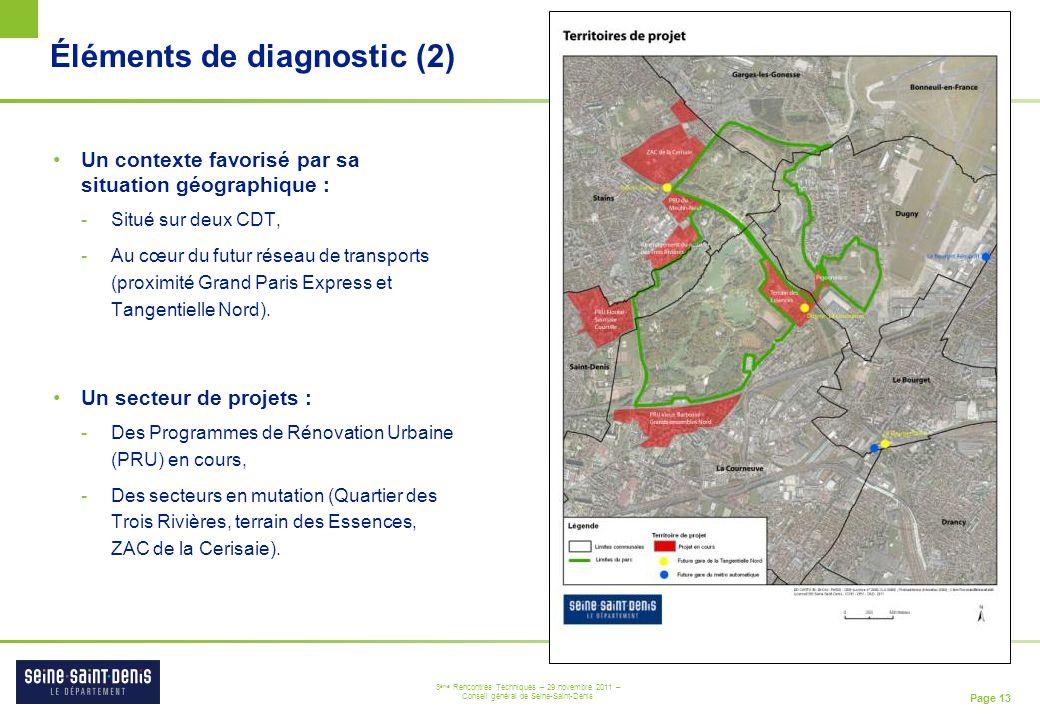 Page 13 3 ème Rencontres Techniques – 29 novembre 2011 – Conseil général de Seine-Saint-Denis Éléments de diagnostic (2) Un contexte favorisé par sa s