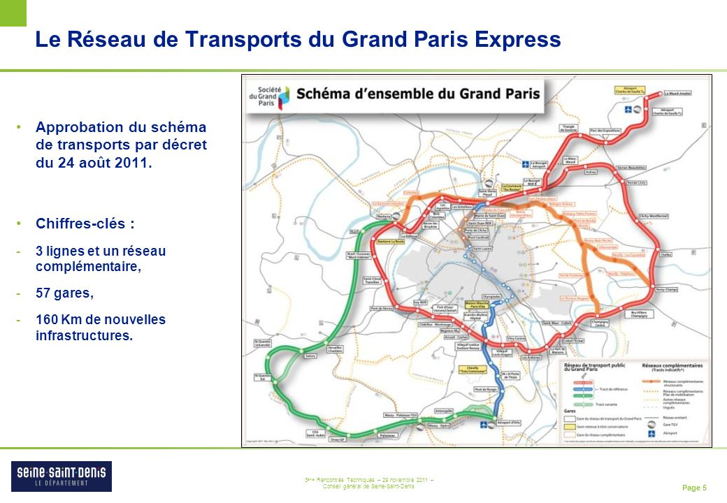 Page 5 3 ème Rencontres Techniques – 29 novembre 2011 – Conseil général de Seine-Saint-Denis Le Réseau de Transports du Grand Paris Express Approbatio
