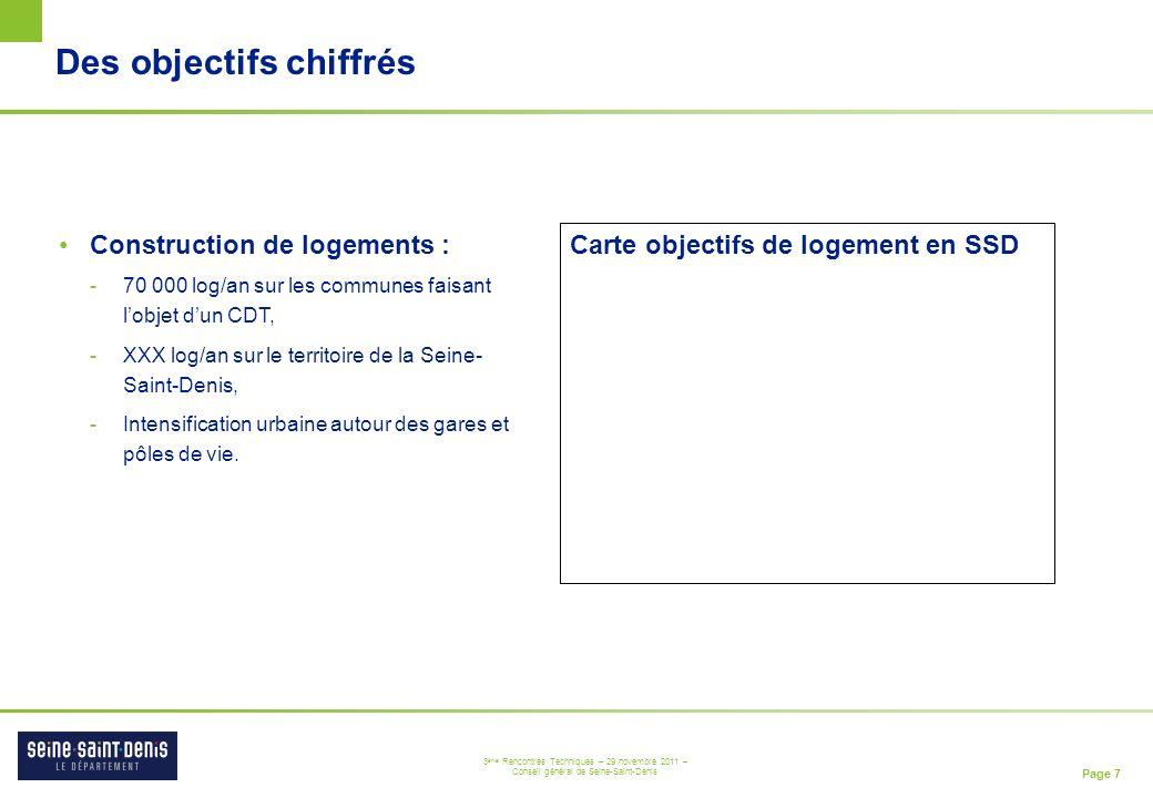 Page 7 3 ème Rencontres Techniques – 29 novembre 2011 – Conseil général de Seine-Saint-Denis Des objectifs chiffrés Construction de logements : -70 00