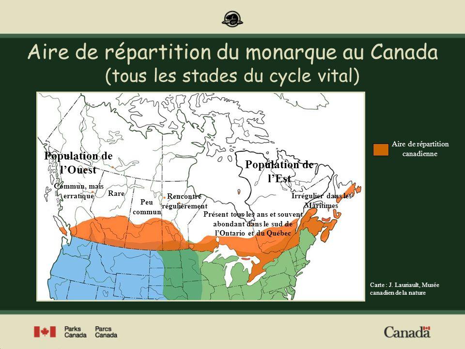 Haltes migratoires automnales dans lest du Canada Parc national de la Pointe-Pelée Réserve nationale de faune de Prince Edward Point Réserve nationale de faune de Long Point Parc provincial Presquile Parc provincial Rondeau Carte : J.