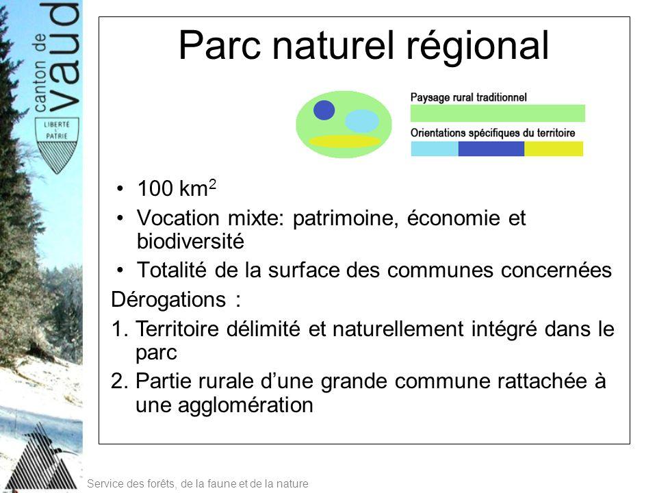 Service des forêts, de la faune et de la nature Parc naturel régional 100 km 2 Vocation mixte: patrimoine, économie et biodiversité Totalité de la sur