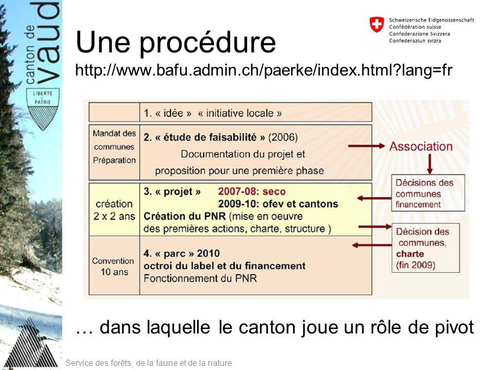 Service des forêts, de la faune et de la nature Une procédure http://www.bafu.admin.ch/paerke/index.html?lang=fr … dans laquelle le canton joue un rôl