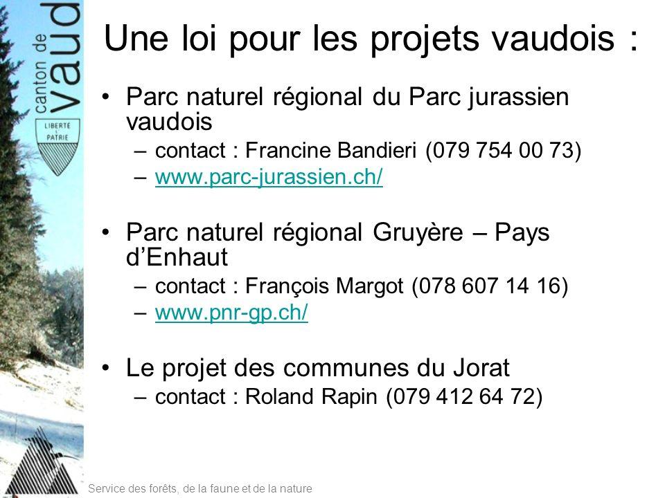 Service des forêts, de la faune et de la nature Une loi pour les projets vaudois : Parc naturel régional du Parc jurassien vaudois –contact : Francine