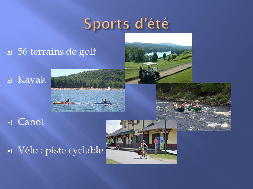 56 terrains de golf Kayak Canot Vélo : piste cyclable