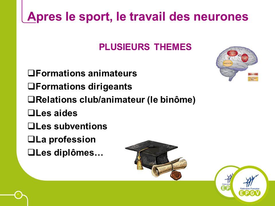 7 Apres le sport, le travail des neurones PLUSIEURS THEMES Formations animateurs Formations dirigeants Relations club/animateur (le binôme) Les aides Les subventions La profession Les diplômes…