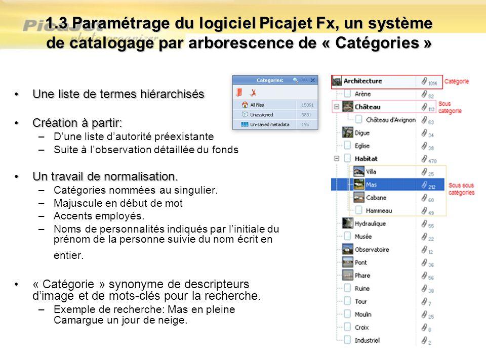 1.3 Paramétrage du logiciel Picajet Fx, un système de catalogage par arborescence de « Catégories » Une liste de termes hiérarchisésUne liste de terme