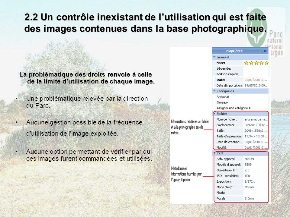 2.2 Un contrôle inexistant de lutilisation qui est faite des images contenues dans la base photographique. La problématique des droits renvoie à celle