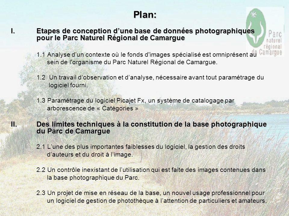 Plan: I.Etapes de conception dune base de données photographiques pour le Parc Naturel Régional de Camargue 1.1 Analyse dun contexte où le fonds d'ima
