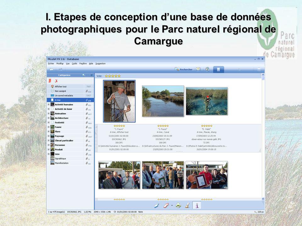 I. Etapes de conception dune base de données photographiques pour le Parc naturel régional de Camargue