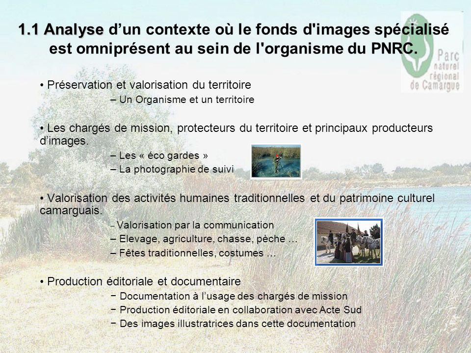 1.1 Analyse 1.1 Analyse dun contexte où le fonds d'images spécialisé est omniprésent au sein de l'organisme du PNRC. Préservation et valorisation du t