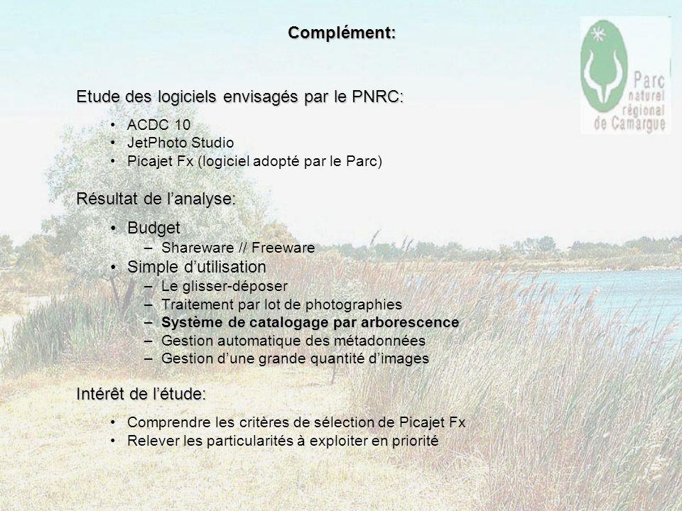 Complément: Etude des logiciels envisagés par le PNRC: ACDC 10 JetPhoto Studio Picajet Fx (logiciel adopté par le Parc) Résultat de lanalyse: Budget –