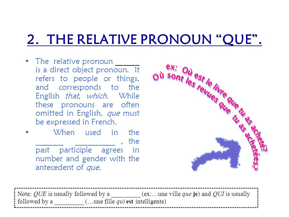 1. THE RELATIVE PRONOUN QUI. The relative pronoun ____ is a subject pronoun. It may refer to people or things, and corresponds to the English pronouns