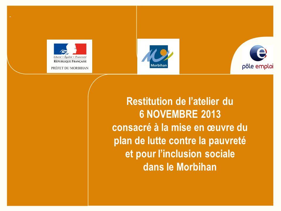 Restitution de latelier du 6 NOVEMBRE 2013 consacré à la mise en œuvre du plan de lutte contre la pauvreté et pour linclusion sociale dans le Morbihan.