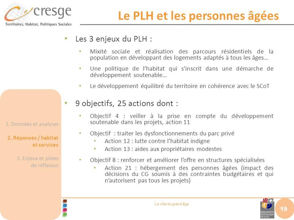 La ville du grand âge Le PLH et les personnes âgées Les 3 enjeux du PLH : Mixité sociale et réalisation des parcours résidentiels de la population en