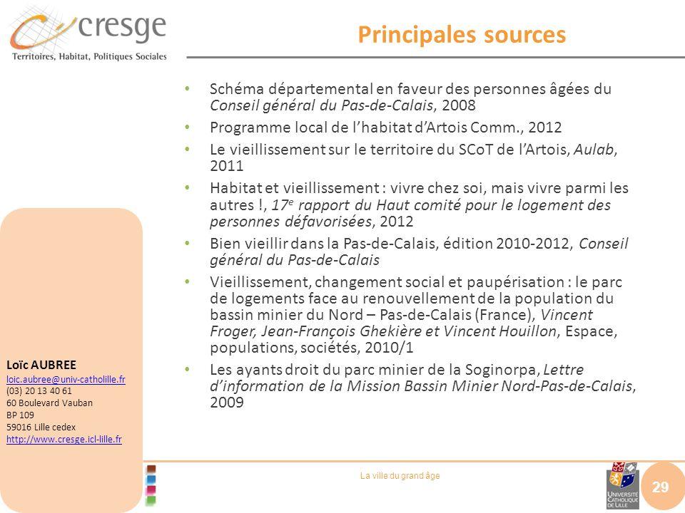 La ville du grand âge Principales sources Schéma départemental en faveur des personnes âgées du Conseil général du Pas-de-Calais, 2008 Programme local