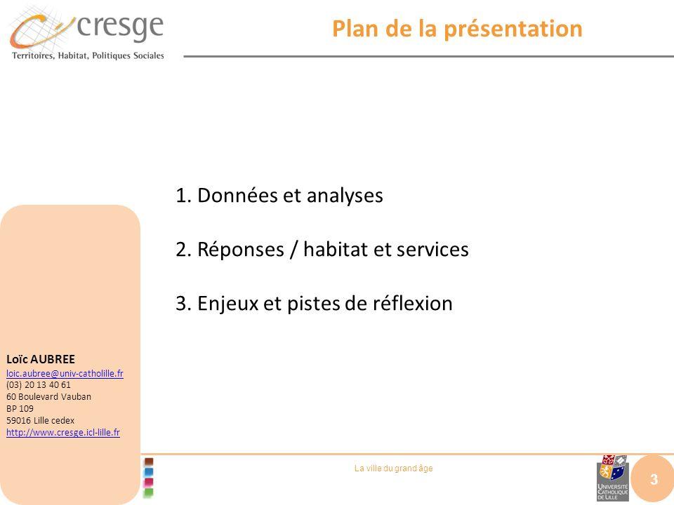 La ville du grand âge Plan de la présentation 3 1. Données et analyses 2. Réponses / habitat et services 3. Enjeux et pistes de réflexion Loïc AUBREE