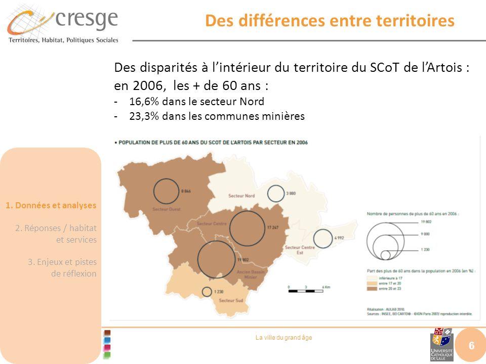 La ville du grand âge Des différences entre territoires 6 Des disparités à lintérieur du territoire du SCoT de lArtois : en 2006, les + de 60 ans : -1