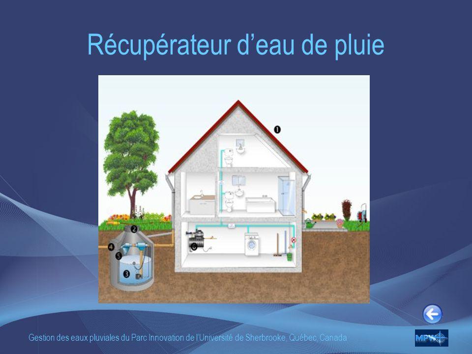 Gestion des eaux pluviales du Parc Innovation de lUniversité de Sherbrooke, Québec, Canada Récupérateur deau de pluie