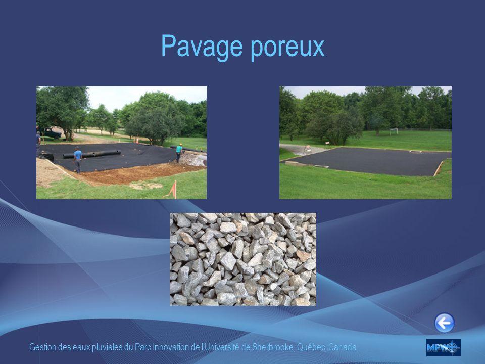 Gestion des eaux pluviales du Parc Innovation de lUniversité de Sherbrooke, Québec, Canada Pavage poreux